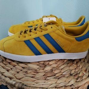 Adidas Gazelle Blue Yellow Shoes Men's 7.5 New